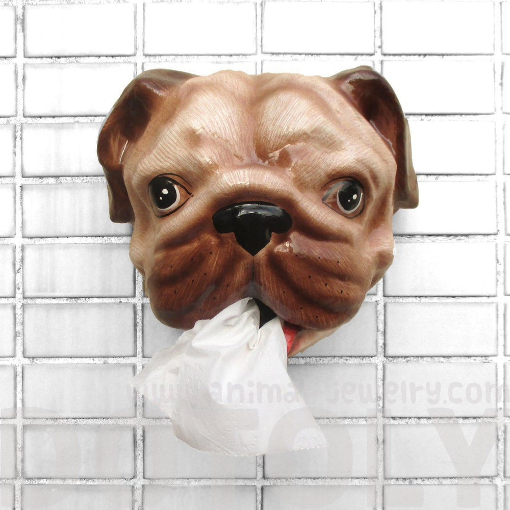 Pug Puppy Animal Head Faux Taxidermy Wall Mount Tissue Paper Holder