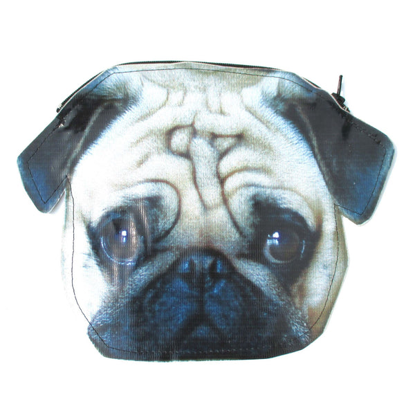 Pug Puppy Dog Head Shaped Vinyl Animal Photo Print Clutch Bag | DOTOLY | DOTOLY