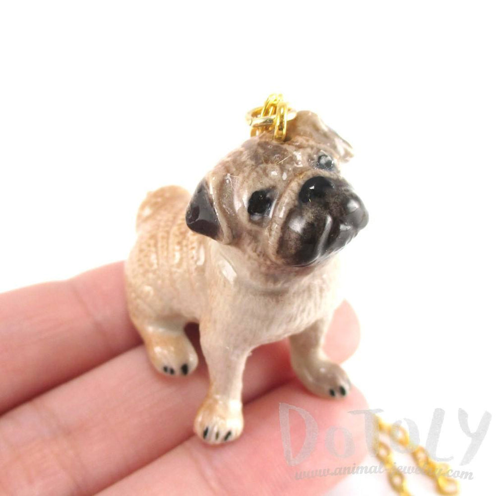 Pug Puppy Dog Porcelain Hand Painted Ceramic Animal Pendant Necklace | Handmade | DOTOLY