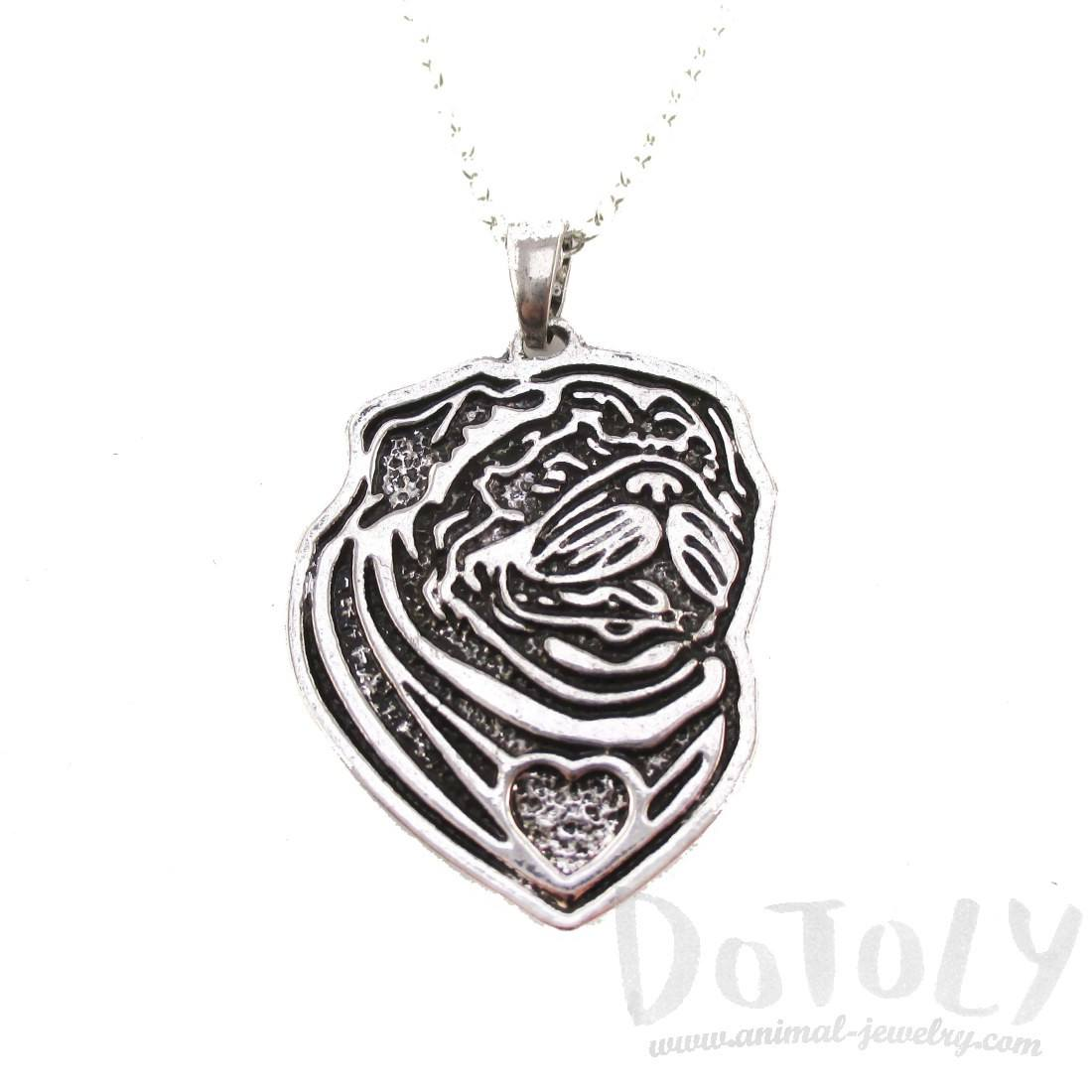Pug Puppy Dog Portrait Pendant Necklace in Silver