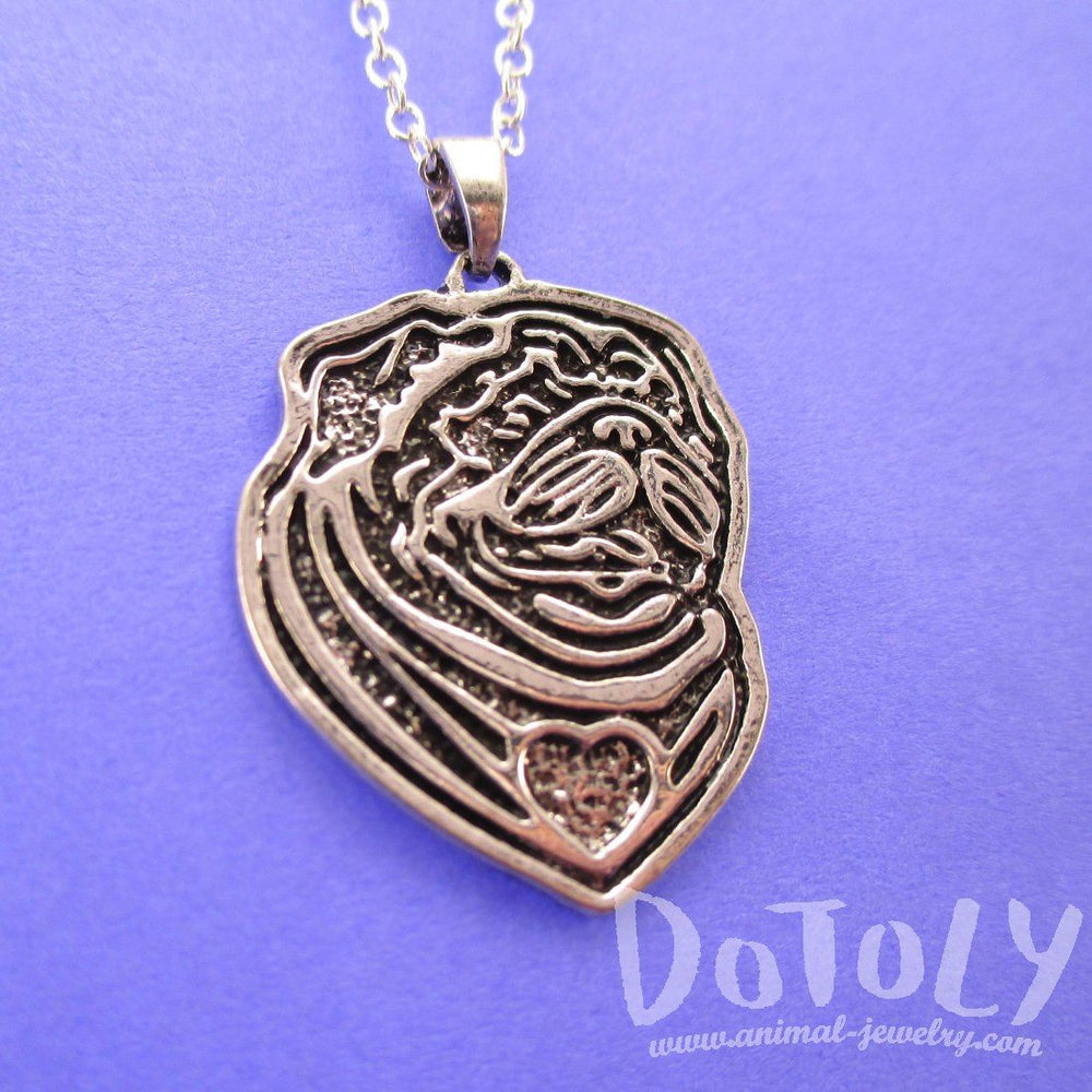 Pug Puppy Dog Portrait Pendant Necklace in Silver | Animal Jewelry | DOTOLY