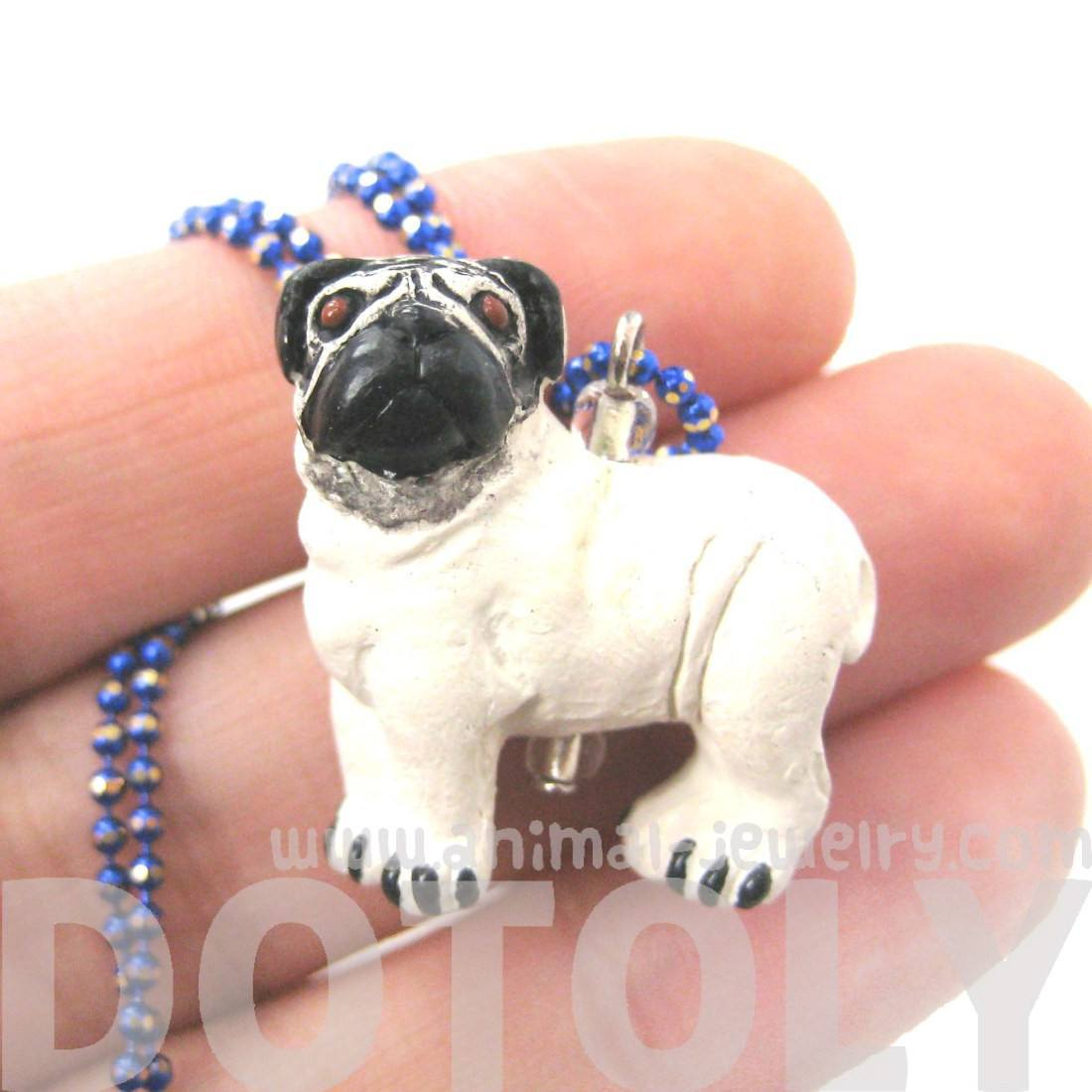 Pug Puppy Dog Shaped Porcelain Ceramic Pendant Necklace | Handmade