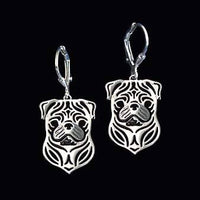 Pug Puppy Face Shaped Drop Dangle Earrings in Silver
