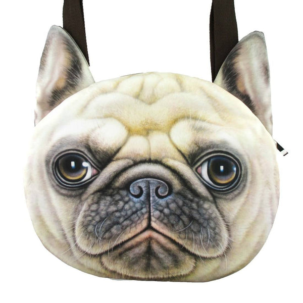Pug Puppy Face Shaped Large Shopper Tote Shoulder Bag