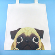 Pug Puppy Illustrated Canvas Shopper Tote Bag | Gifts for Dog Lovers