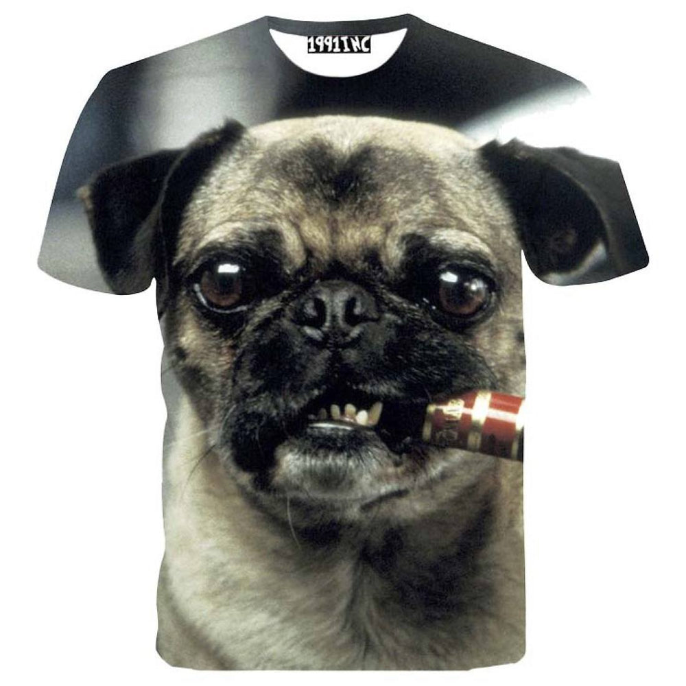Pug Smoking a Cigar Animal Meme Graphic Print T-Shirt