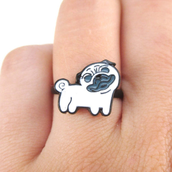 Pug with Curly Tail Shaped Enamel Adjustable Ring for Dog Lovers