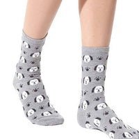 Puppies Dogs and Paw Prints Patterned Cotton Socks in Grey | DOTOLY