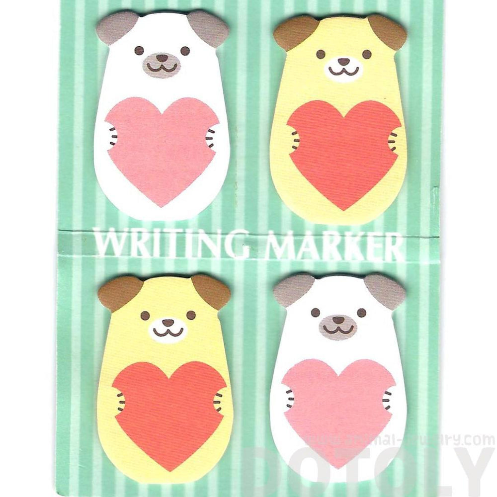 Puppy Dog and Hearts Shaped Animal Memo Post-it Writing Markers | Stationery | DOTOLY