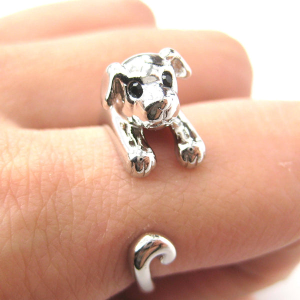 Puppy Dog Animal Wrap Around Ring in Shiny Silver | US Sizes 4 to 9 | DOTOLY