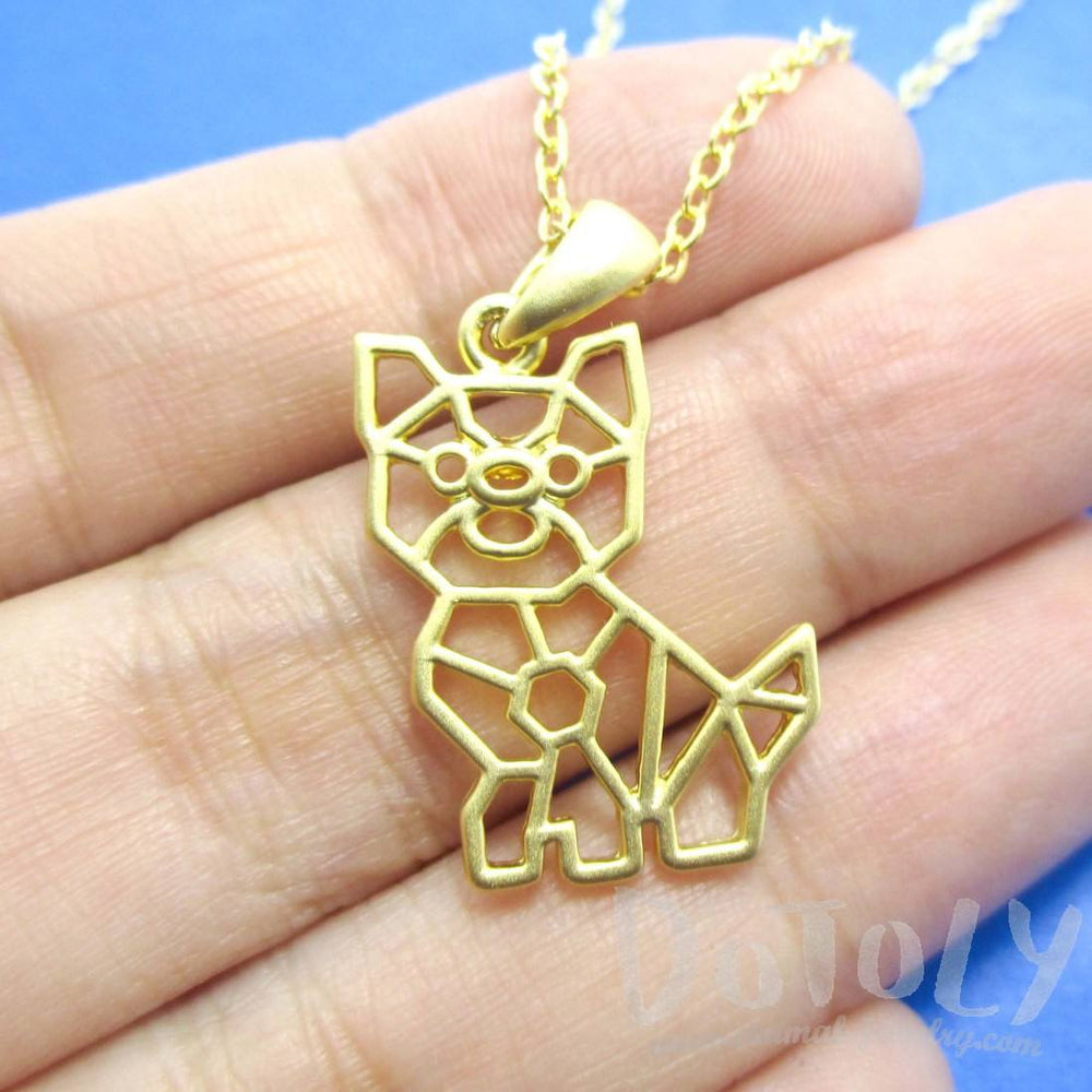 Puppy Dog Outline Shaped Pendant Necklace in Gold