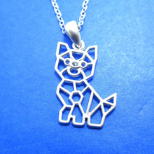 Puppy Dog Outline Shaped Pendant Necklace in Silver