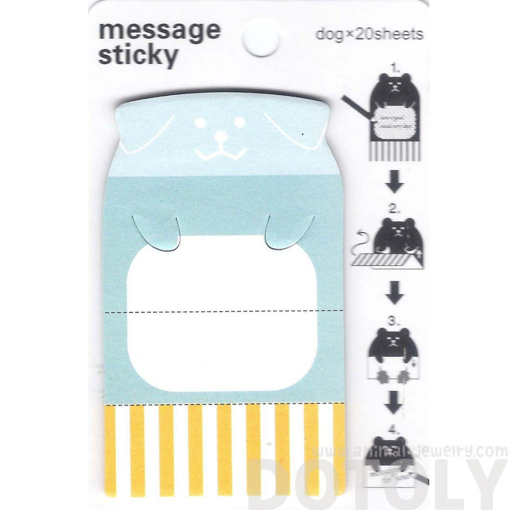 Puppy Dog Shaped Animal Themed Adhesive Memo Message Post-it Letter Paper Sticky Pad | DOTOLY