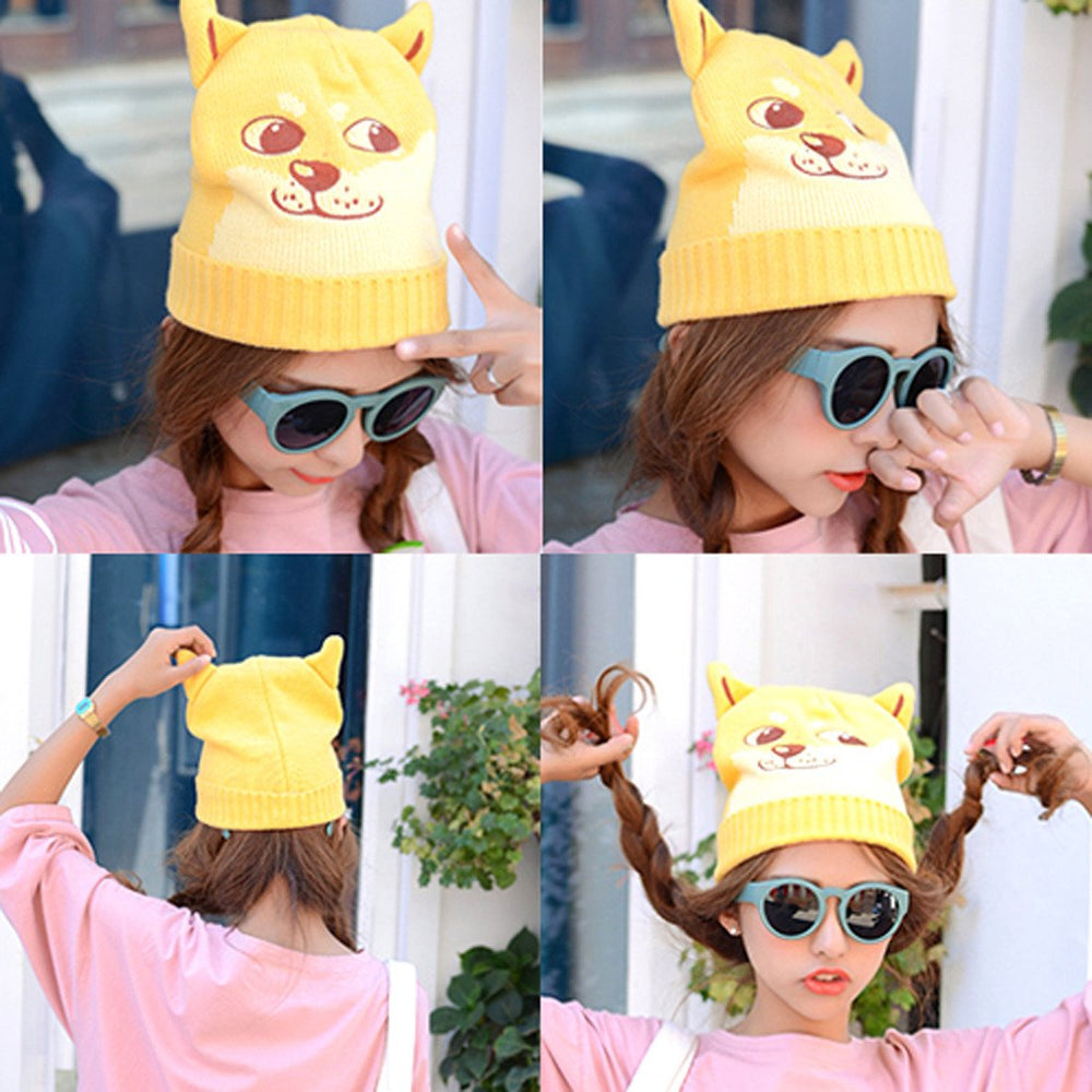 puppy-dog-shaped-doge-animal-meme-themed-knit-beanie-in-yellow