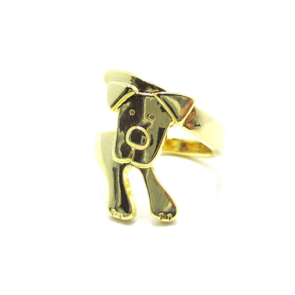 Puppy Dog Hugging Your Finger Shape Animal Ring in Gold