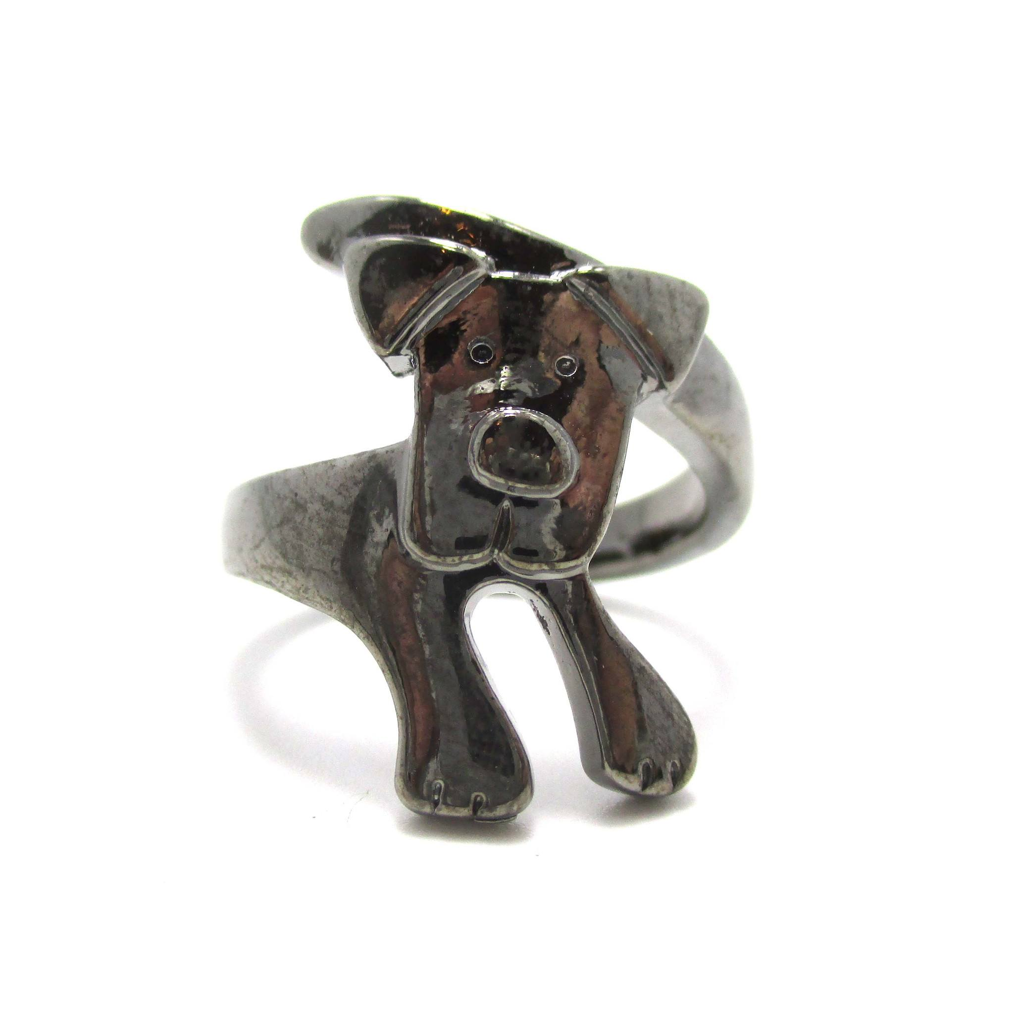Puppy Dog Wrapped Around Your Finger Ring in Silver