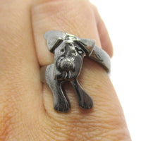 Puppy Dog Wrapped Around Your Finger Shaped Animal Ring in Gunmetal Silver | DOTOLY