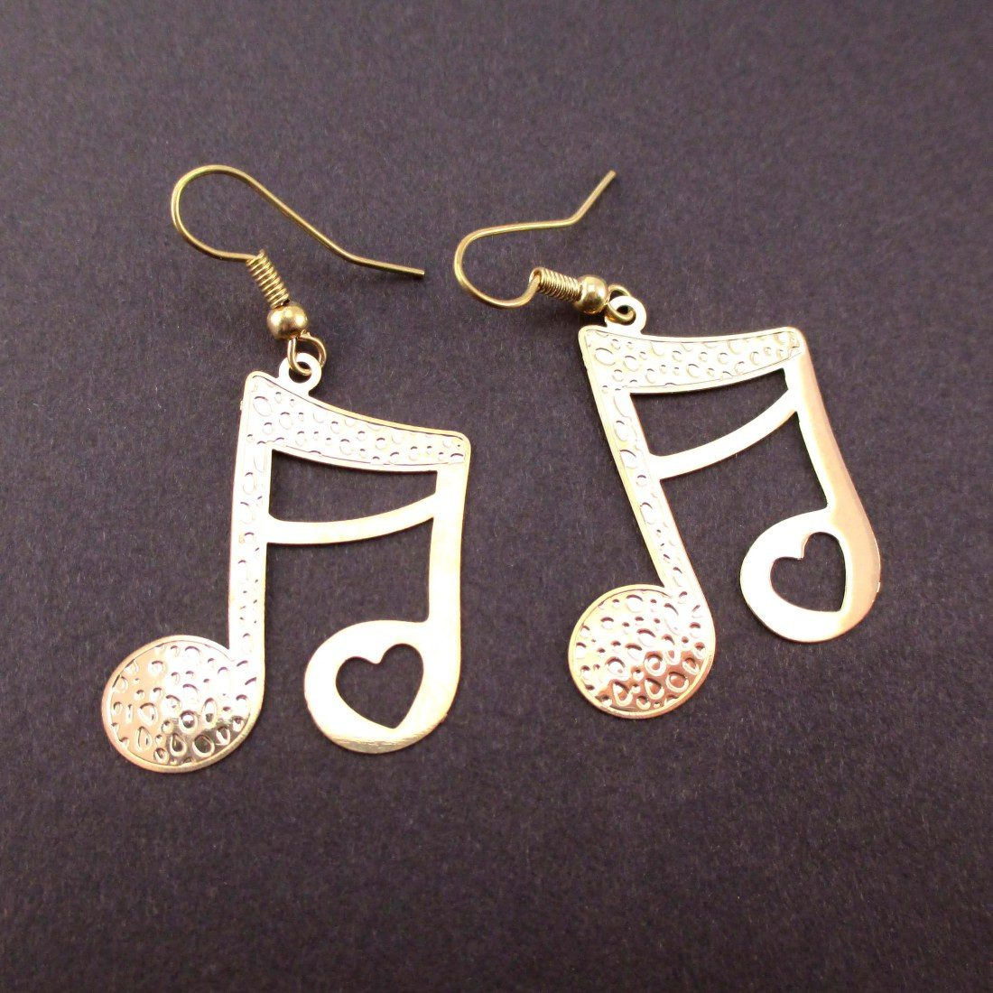 Quaver Note Shaped Music Themed Dangle Earrings in Gold | DOTOLY
