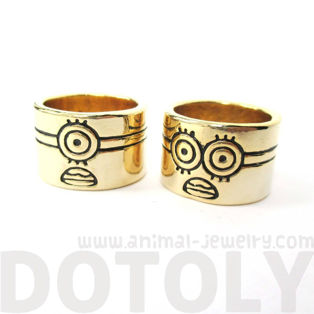 Quirky Despicable Me Inspired One Eyed or Two Eyed Minion Ring in Gold
