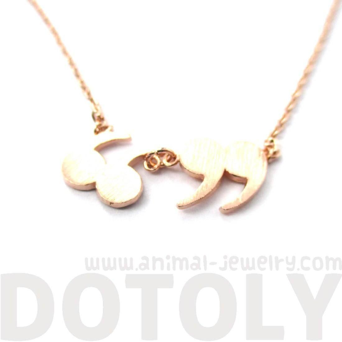 Quotation Marks Inverted Commas Shaped Charm Necklace in Rose Gold