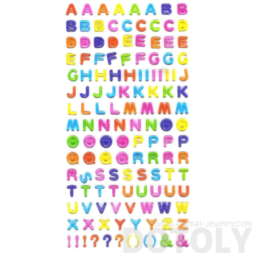 Rainbow Colored Alphabet ABCs Shaped Jelly Typography DIY Stickers