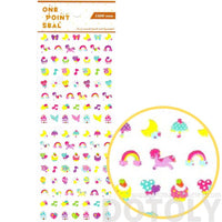 Rainbow Pony Stars Cake Shaped Animal Sticker Seals
