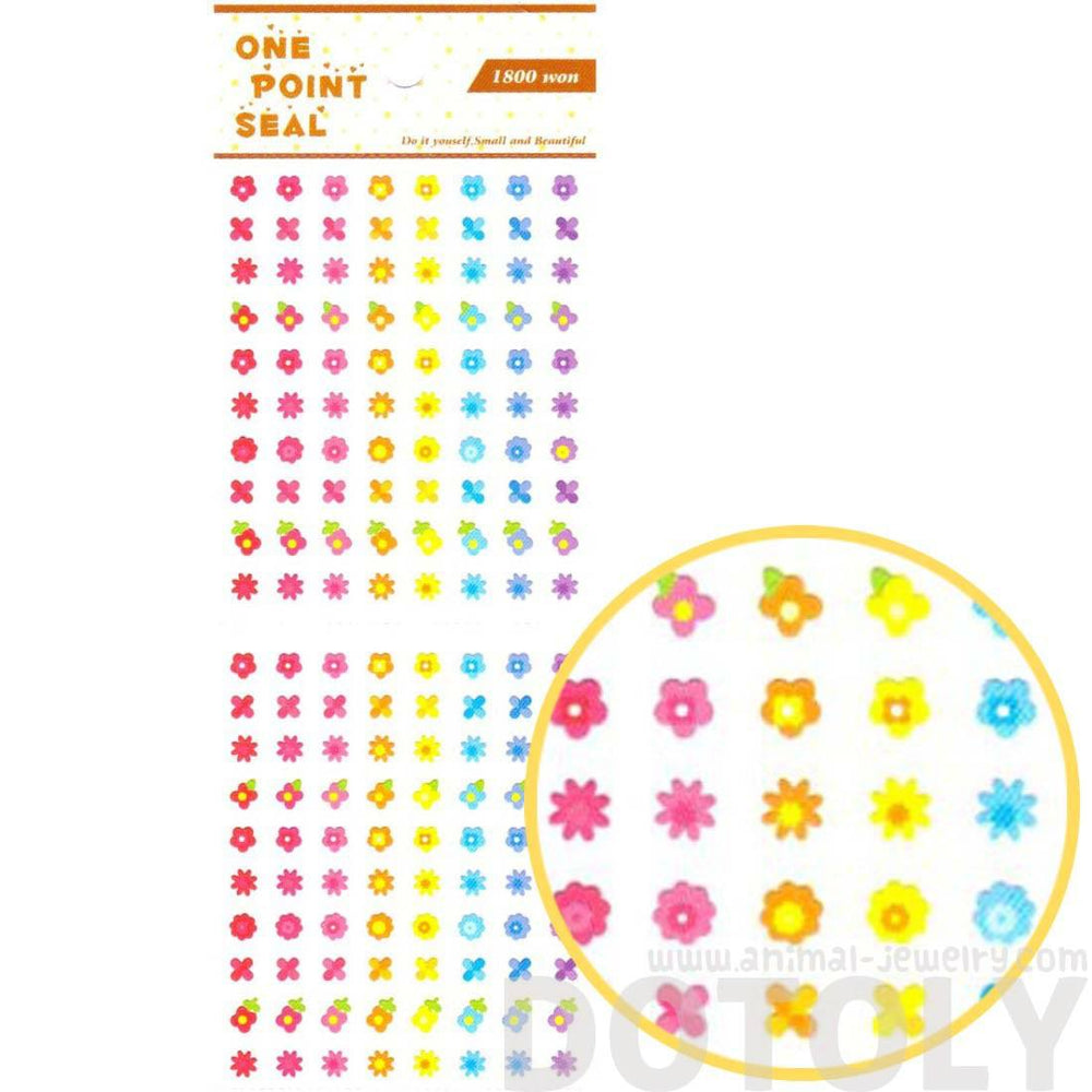 Rainbow Colored Flower Floral Stickers for Scrapbooking