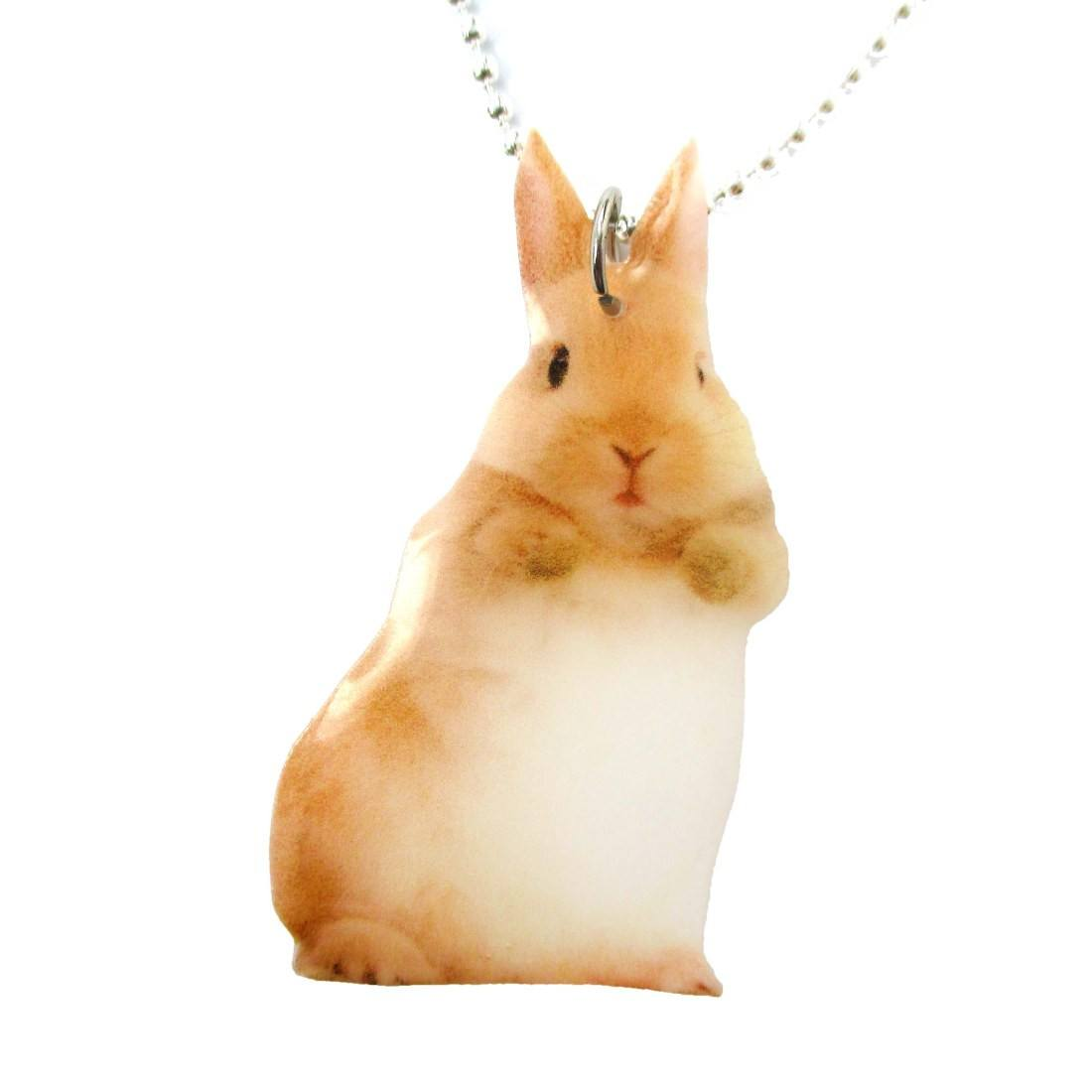 Realistic Adorable Bunny Rabbit Animal Shaped Pendant Necklace