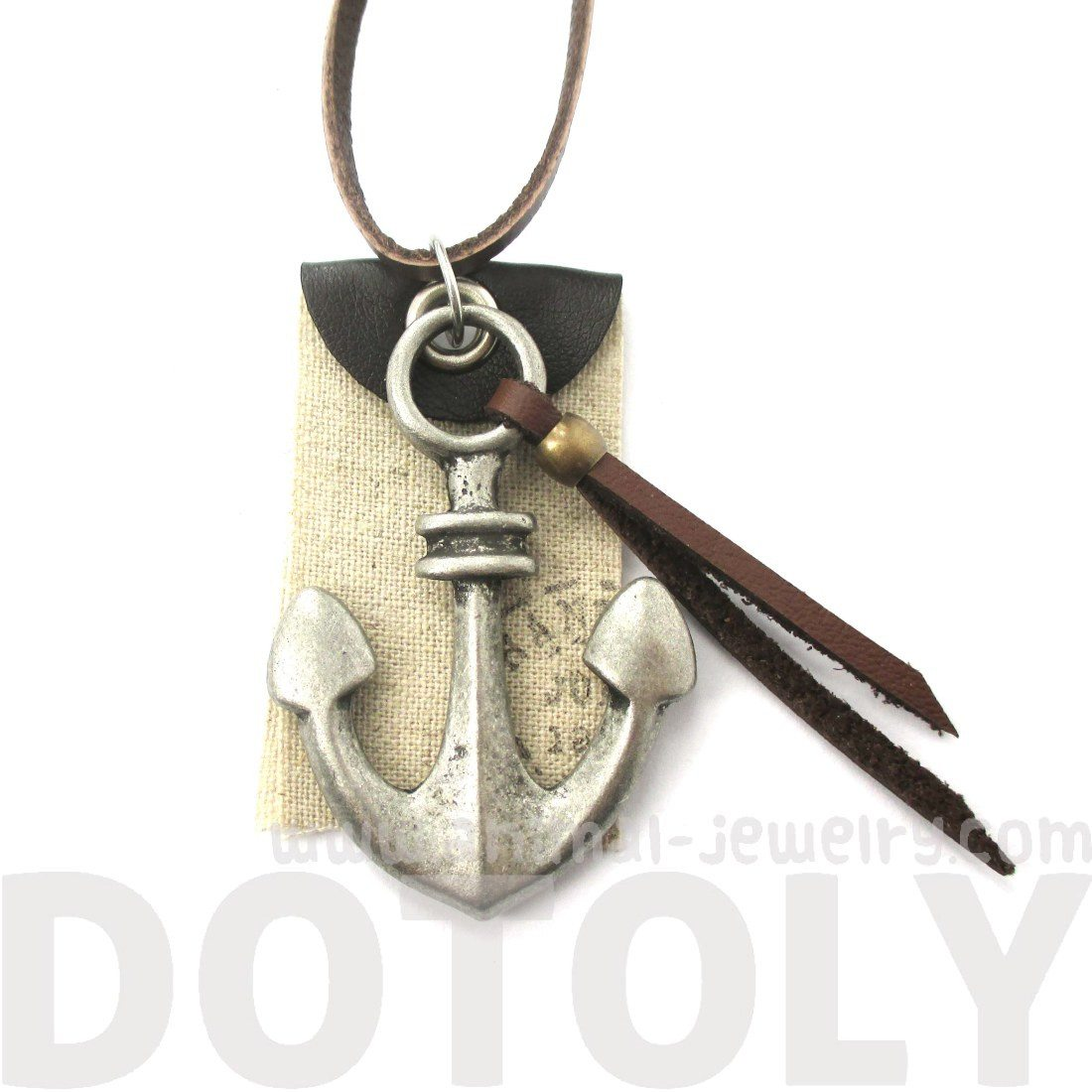 Anchor Pendant Necklace in Silver with Leather Accents | DOTOLY