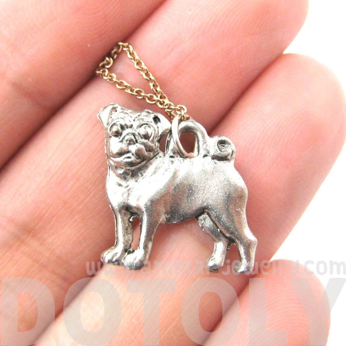 Detailed Pug Puppy Dog Shaped Charm Necklace in Silver | MADE IN USA