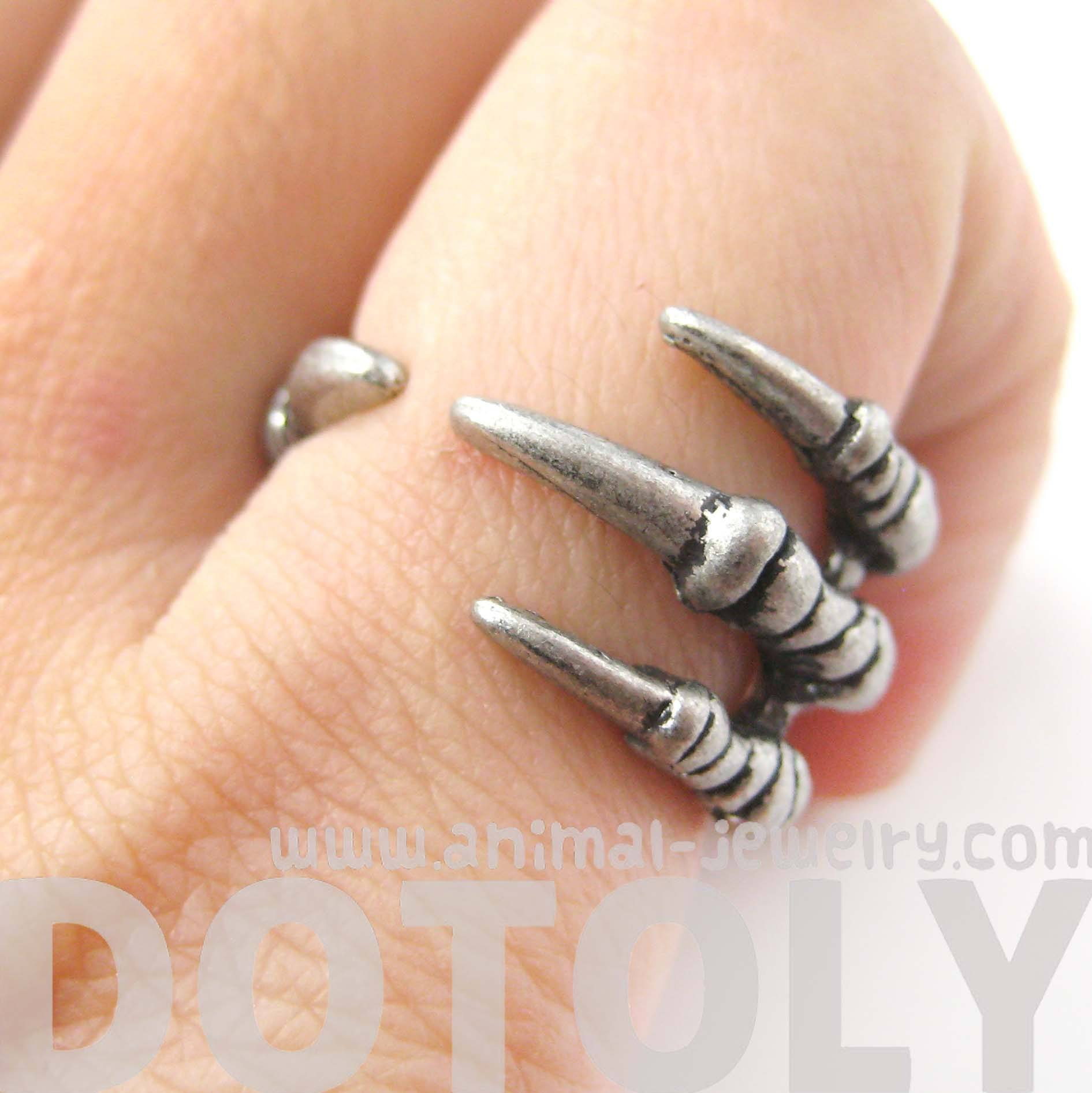 Realistic Animal Bird Claw Shaped Wrap Around Ring in Silver | Animal Jewelry
