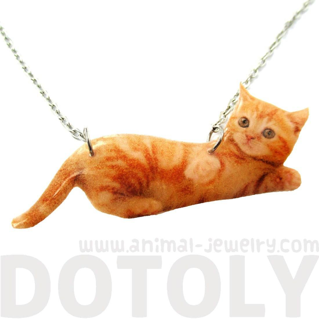 Realistic Baby Tabby Kitty Cat Shaped Pendant Necklace in Orange | Handmade | Animals in Awkward Poses