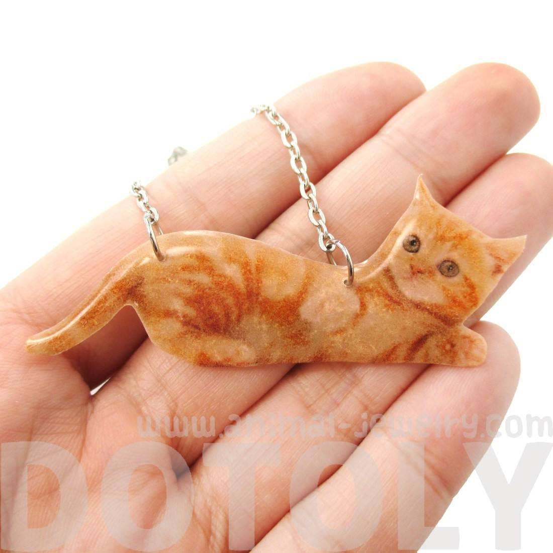 Realistic Baby Tabby Kitty Cat Shaped Pendant Necklace in Orange