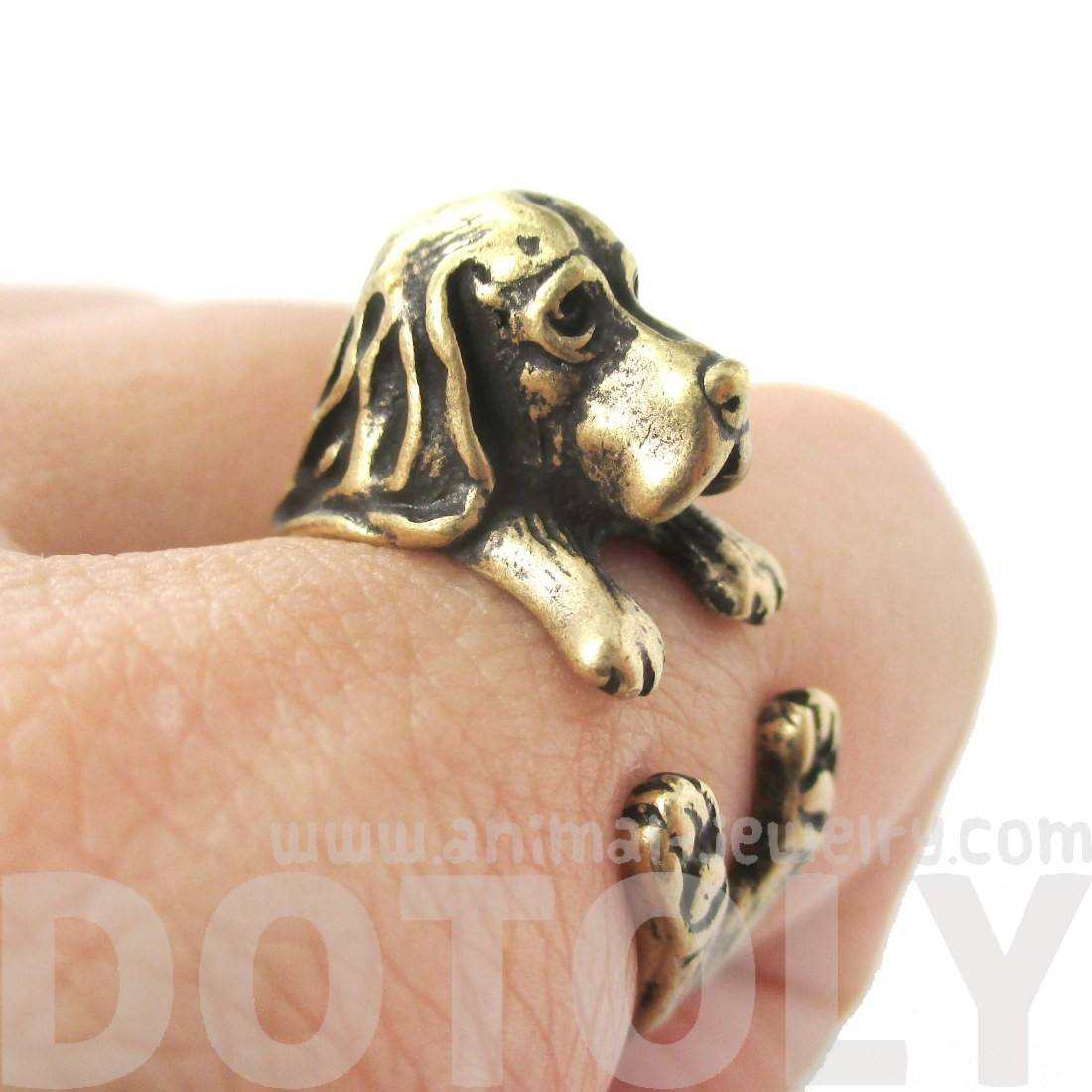 Realistic Basset Hound Shaped Animal Wrap Ring in Brass