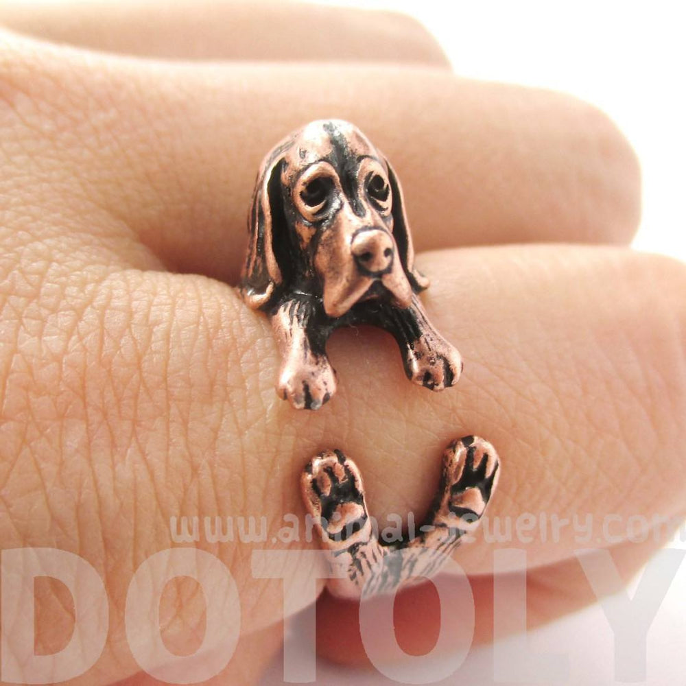 Realistic Basset Hound Shaped Animal Wrap Ring in Copper