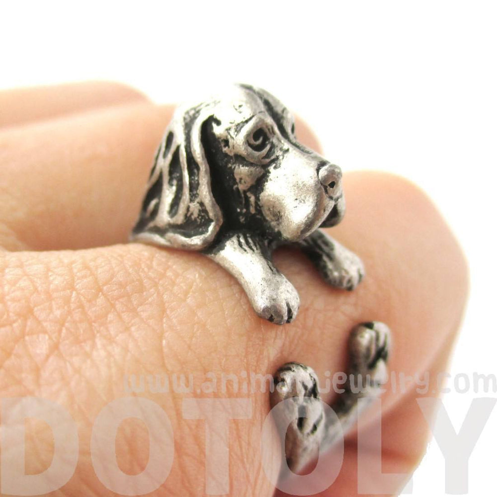 Realistic Basset Hound Shaped Animal Wrap Ring in Silver