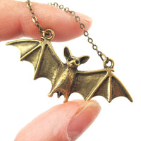 Realistic Bat Shaped Animal Pendant Necklace in Brass | Animal Jewelry