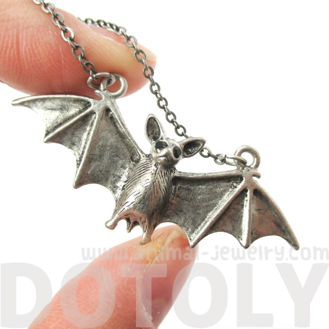 Adorable Bat Shaped Animal Pendant Necklace in Silver | Animal Jewelry