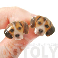 Realistic Beagle Face Shaped Animal Resin Stud Earrings | Handmade
