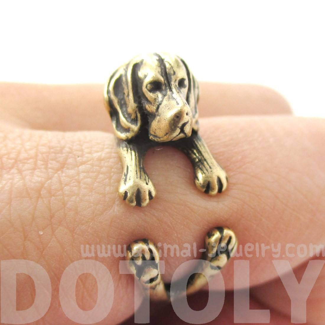 Realistic Beagle Puppy Shaped Animal Wrap Ring in Brass