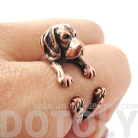 Realistic Beagle Puppy Shaped Animal Wrap Ring in Copper | Sizes 4 to 8.5 | DOTOLY