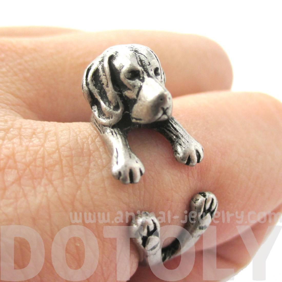 Realistic Beagle Puppy Shaped Animal Wrap Ring | DOTOLY