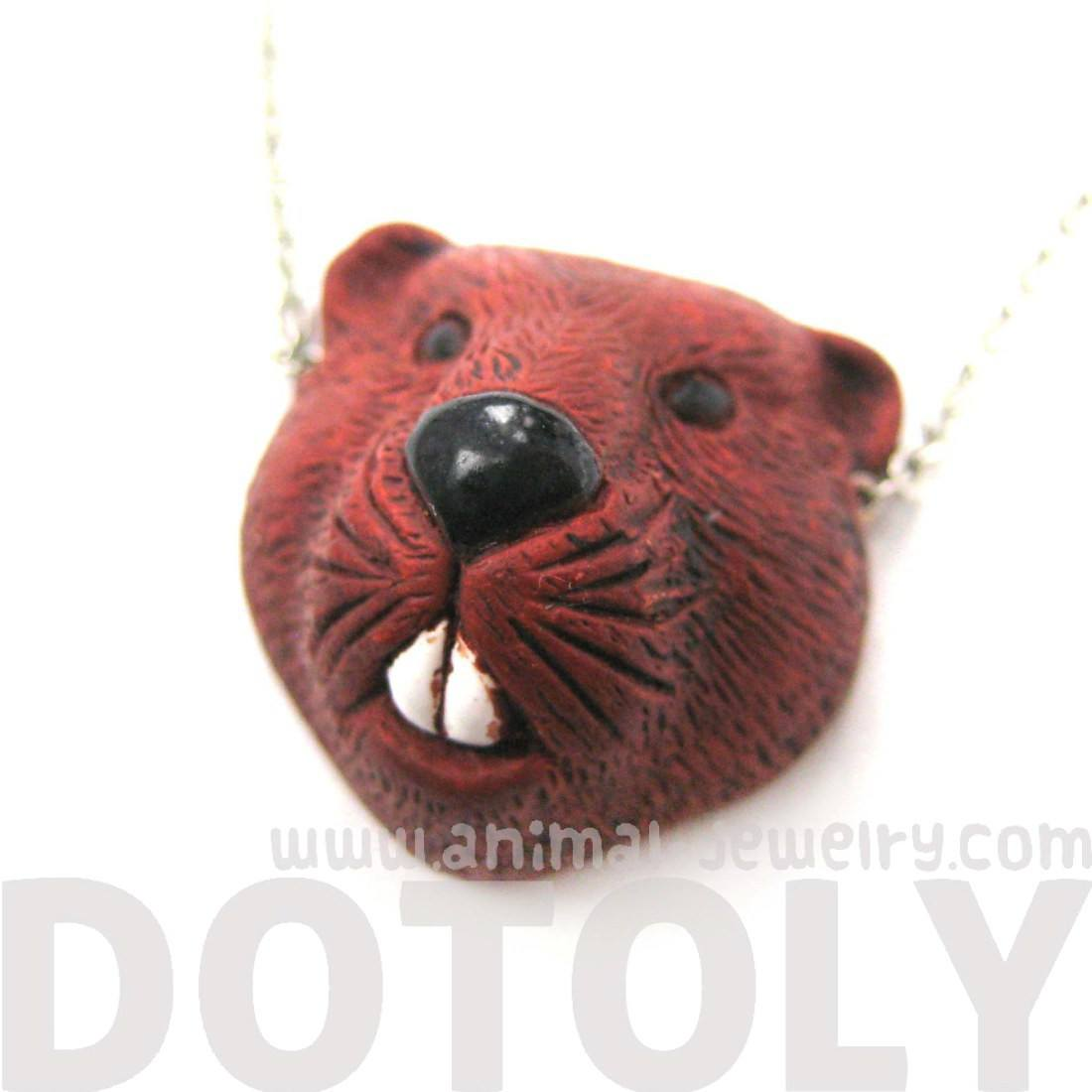 Realistic Beaver Head Shaped Porcelain Ceramic Animal Pendant Necklace
