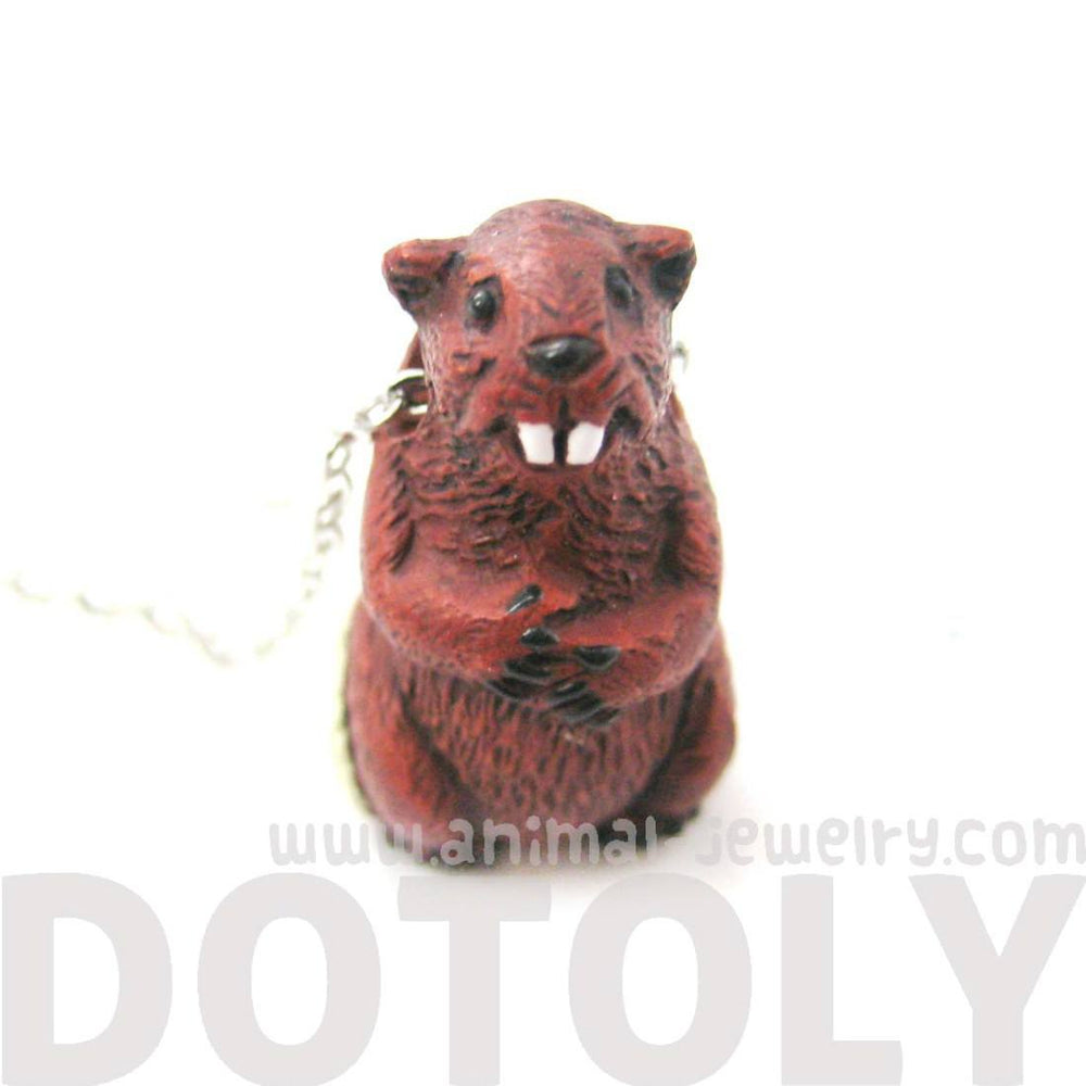 Realistic Ceramic Beaver Animal Totem Pendant Necklace | Handmade