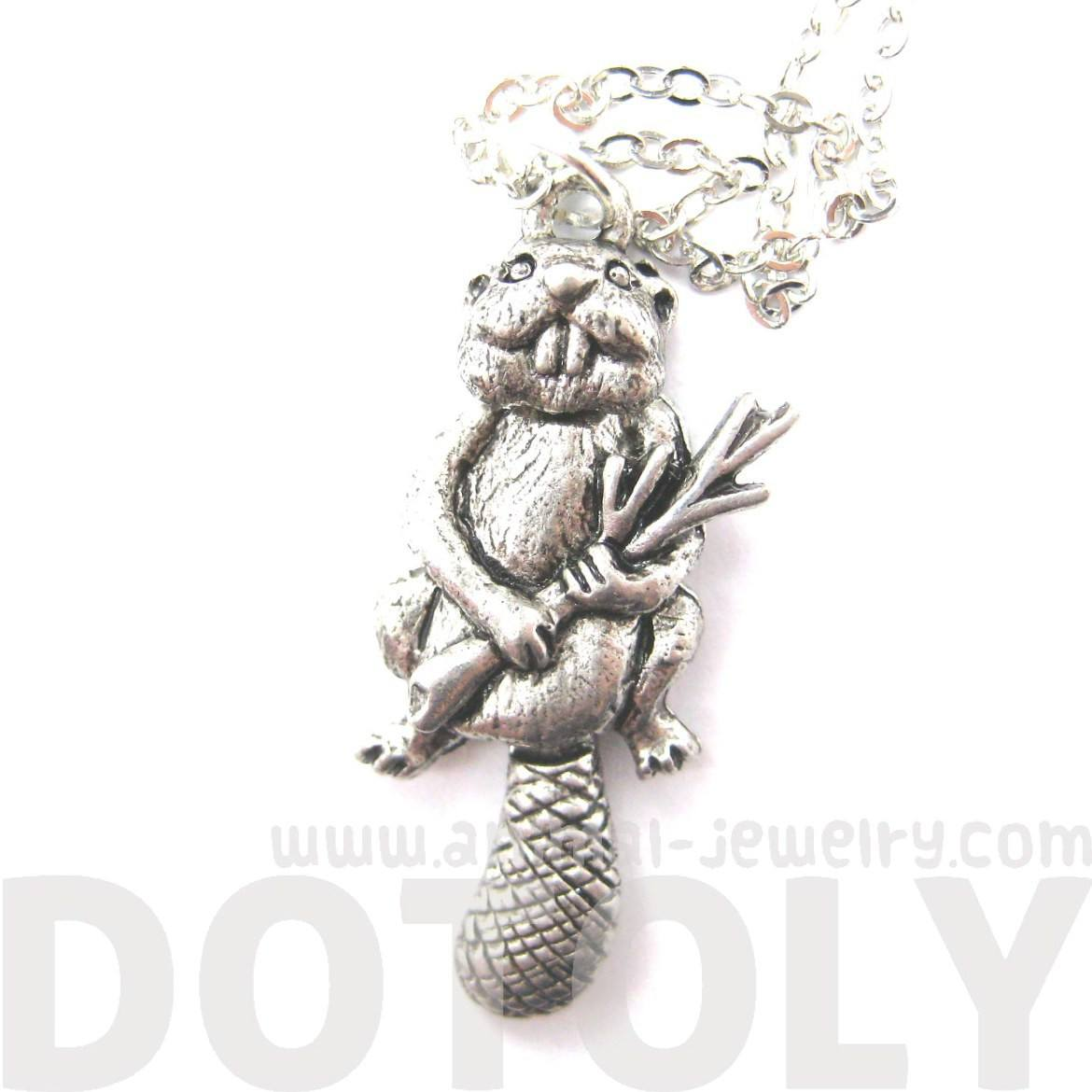 Realistic Beaver Shaped Moveable Animal Charm Necklace | MADE IN USA
