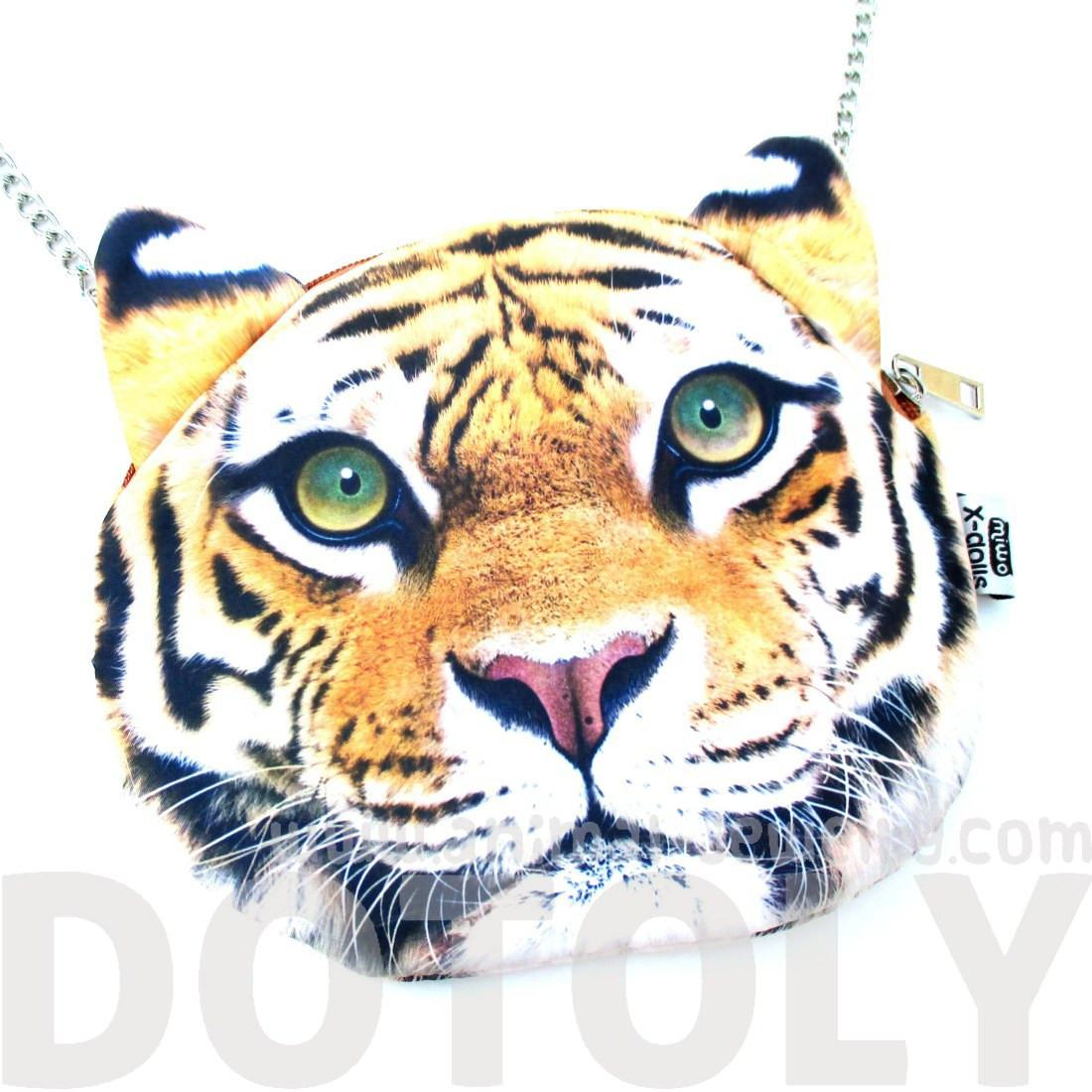 Realistic Bengal Tiger Face Shaped Cross Body Shoulder Sling Bag