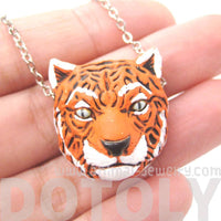 Bengal Tiger Head Shaped Porcelain Ceramic Animal Pendant Necklace