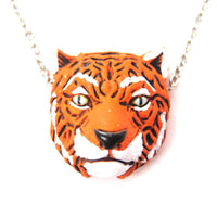 Realistic Bengal Tiger Head Shaped Porcelain Ceramic Animal Pendant Necklace | Handmade | DOTOLY