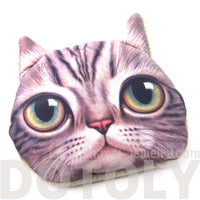 Big Eyed Kitty Cat Tabby Face Shaped Soft Fabric Zipper Coin Purse