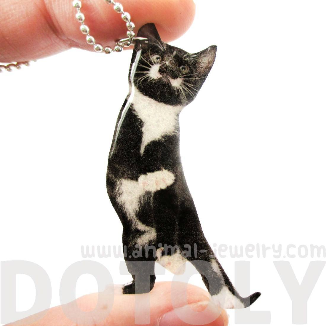 Realistic Black and White Kitty Cat Stretching Shaped Pendant Necklace